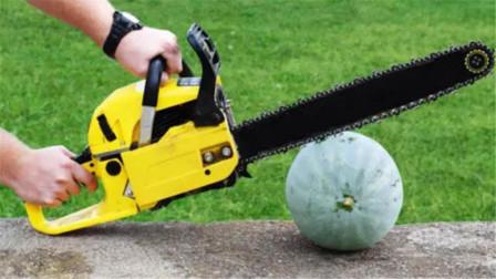 冰冻的西瓜到底有多坚硬?作死老外用电锯对抗,画面实在太过瘾!