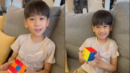 林志颖晒儿子玩魔方 Jenson透露每天都会练习很久