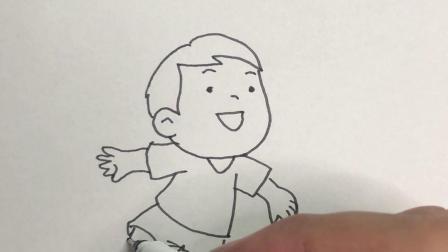 画一个玩足球的小男孩