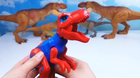 恐龙世界趣味益智玩具乐园,蜘蛛侠一样的霸王龙?来看看咋回事!