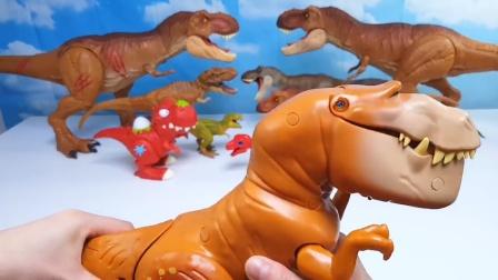 霸王龙身上有惊奇的机关!真是太好玩了!恐龙世界益智趣味玩具
