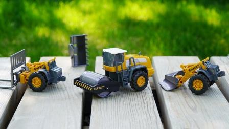 玩具车和汽车仓库,各种卡通小汽车来了,儿童益智汽车模型