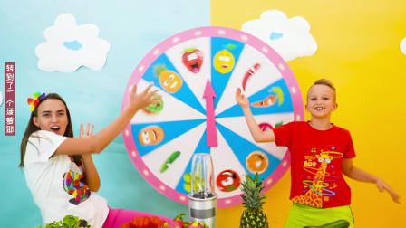 萌娃和妈妈进行水果大转盘比赛