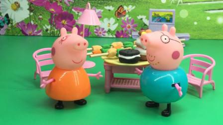 猪妈妈嫌猪爸爸太胖,不准猪爸爸吃饭!