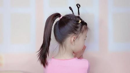 六一给女儿这样扎头发,太可爱了,儿童可爱蚂蚁发型