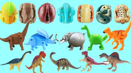 恐龙变形蛋玩具合集,霸王龙三角龙变形蛋
