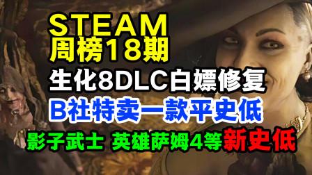 steam周榜第一:生化危机8,白嫖DLC修复。影子武士合集等新史低