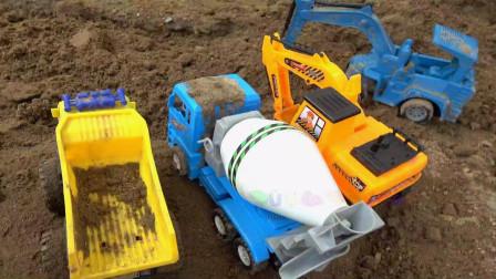 亮亮玩具汽车和挖掘机一起施工,婴幼儿宝宝早教益智卡通游戏视频