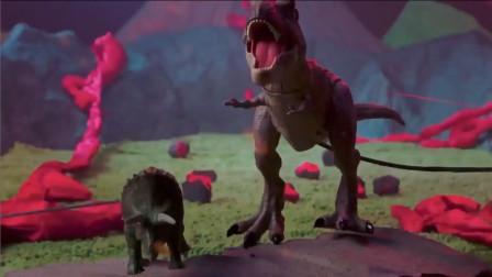 侏罗纪恐龙,火山脚下的恐龙大战,三角龙和翼手龙vs霸王龙