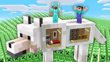 我的世界MC动画:狼的房子被爬行者天启攻击