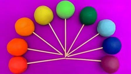趣味亲子彩泥棒棒糖魔力72变,小印章创意新玩法助你萌宝识颜色