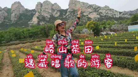 青岛崂山茶田遇载歌载舞唱藏歌的女游客