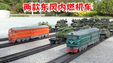 两绿装军列挂车途中再合组特长火车轨道模拟