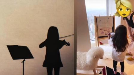 昆凌晒女儿拉小提琴背影照 完美复刻周杰伦《前世情人》MV场景