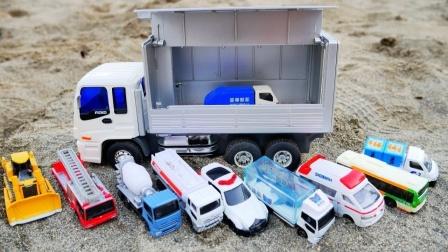 大卡车在室外寻找小汽车玩具