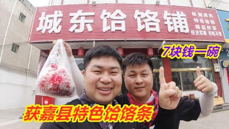 骑行焦作途径获嘉县,吃7元一碗的牛肉饸饹条,配卤肉烧饼吃爽了