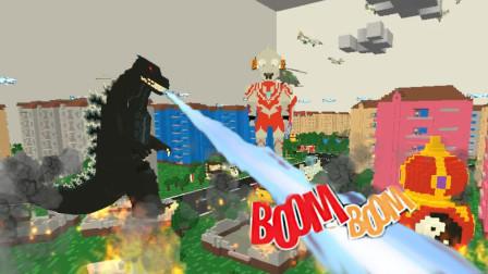 迷你世界 怪兽暴走拆大楼 汤米召唤哥斯拉战士