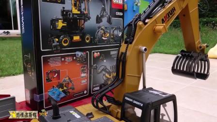 乐高挖掘机玩具,组装乐高工程车队挖掘机装载机大卡车。