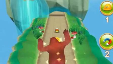 熊出没之熊大快跑-熊大借助吉吉国王的力量,一把飞跃到悬崖对面