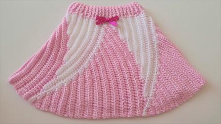 「钩针编织」时尚又可爱的粉色短裙!