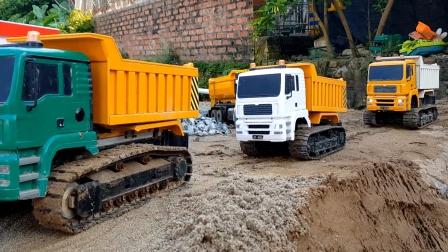 工程车和农场拖车运输饲料喂马,自卸车挖掘机修路真棒