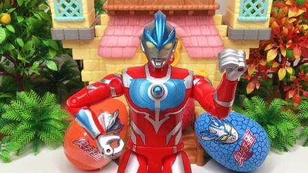银河奥特曼拆全新彩色奥特蛋 收集巧克力豆和拼装玩具