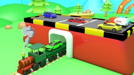 小火车带着彩色汽车离开了