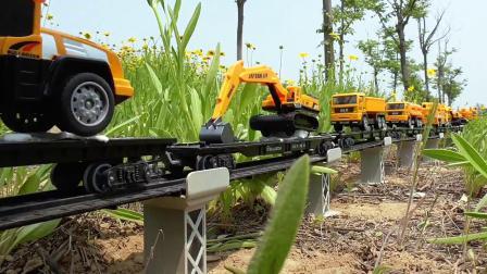 花草地架轨道,工程车专列调头返程作业模拟