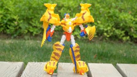 角龙伊顿机器人变形成为三角龙,咖宝车神巨兽时代恐龙玩具试玩