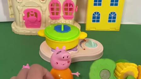 趣味玩具:猪妈妈切洋葱辣到眼睛,乔治帮妈妈吹一吹!