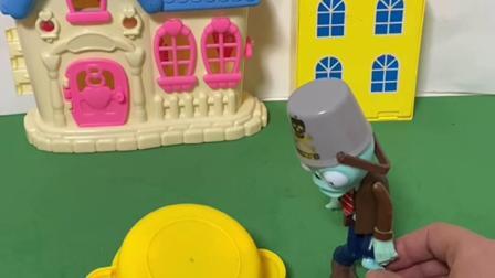 趣味玩具:僵尸抓了两只小猪,用盆子把小猪扣住!