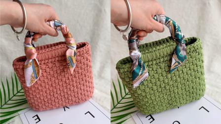 小燕钩织小屋-丝带木柄手提包 上