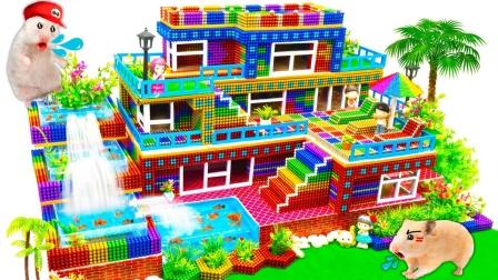巴克球玩具拼搭多层屋顶度假村别墅