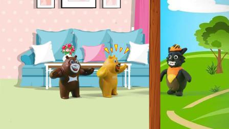 儿童剧:大灰狼装病人骗熊二,小朋友们千万不要给陌生人开门!