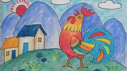 画一只可爱的卡通公鸡