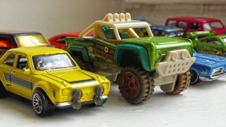 炫彩风火轮和其他汽车玩具混合展示