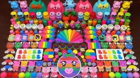 可爱的彩虹猪 化妆品等与彩色黏土混合自制史莱姆 好减压呀