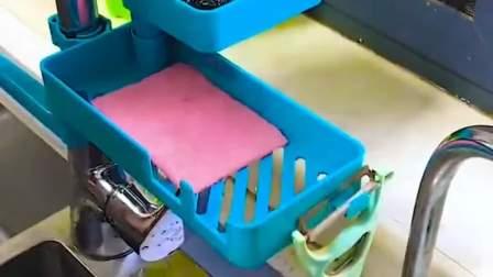 三层可旋转水龙头置物架,收纳常用小工具,台面再也不积水了