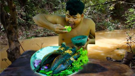 田里的鲶鱼肉真肥,抓几只烤熟配酸辣酱,吃一口真鲜