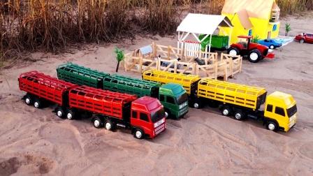 建造农场,三辆双挂运输大卡车护送动物搬家看看哪一辆车最真棒呢