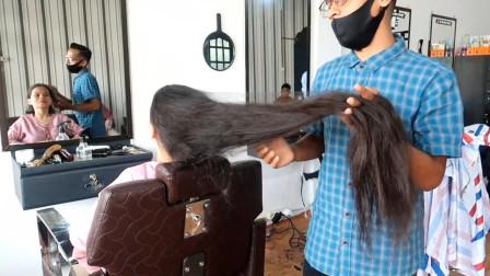 妹子大胆改变,长发剪成波波头,很美很瘦脸