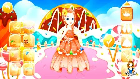 芭比公主甜蜜世界换装大冒险,粉色糖果套装好美啊