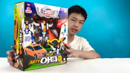 男孩最爱玩具开箱,咖宝车神快车上将变形机器人
