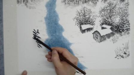 国画中松树的画法你就知道点松针?那么一片松树林你怎么点呢?
