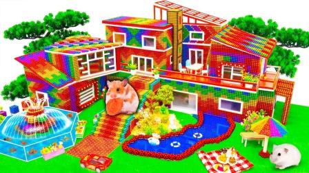 彩色巴克球玩具建造美丽的花园大厦