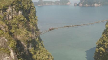 独家正片片段!《速度与激情9》范·迪塞尔一根吊绳飞跃断桥
