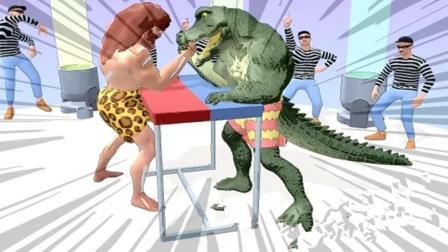 疯狂肌肉男:收集力量和鳄鱼怪兽掰手腕