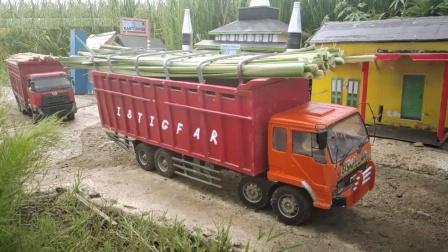 自卸卡车玩具运输木材穿越小镇