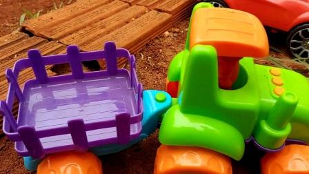 工程车开工啦,农场拖车皮卡车挖掘机建造房屋,旺旺救援队
