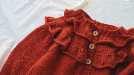 【安妮】1/2集 从上往下编织木耳边圆肩毛衣 亲子棒针毛衣